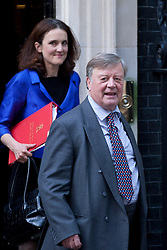 © Licensed to London News Pictures. 05/09/2012. LONDON, UK. Ken Clarke, Minister without Portfolio, and Theresa Villers (L), the Northern Ireland Secretary are seen leaving Number 10 Downing Street in London today (05/09/12) after attending the first cabinet meeting after a cabinet reshuffle that took place yesterday (04/09/12).  Photo credit: Matt Cetti-Roberts/LNP