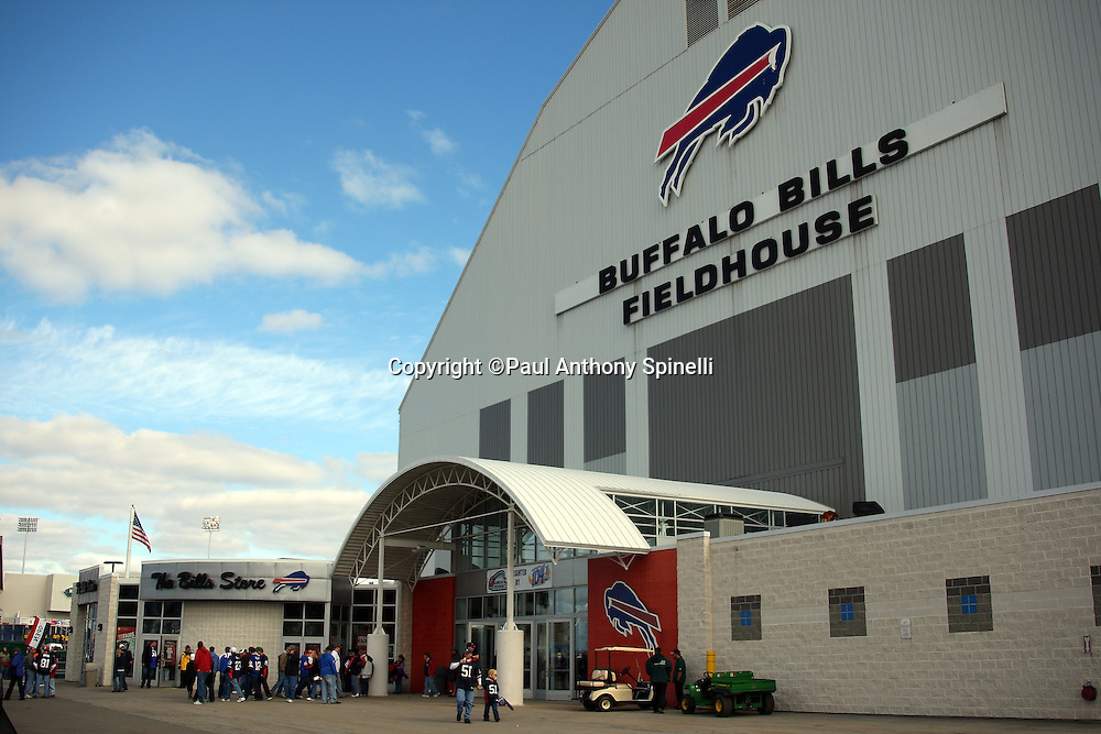 Fans check out the team store at the Buffalo Bills Fieldhouse prior to the NFL football game against the Houston Texans, November 1, 2009 in Orchard Park, New York. The Texans won the game 31-10. (©Paul Anthony Spinelli)