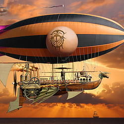 Steampunk concept illustration of a steam powered airships over the ocean at sunrise