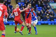 Callum Camps and Keith Keane combine during the EFL Sky Bet League 1 match between Peterborough United and Rochdale at London Road, Peterborough, England on 25 February 2017. Photo by Daniel Youngs.