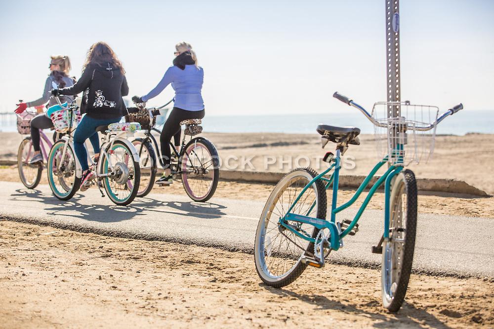 Ladies Riding Beach Cruiser Bikes Along the Huntington Beach Bike Path