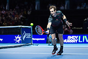 Andy Murray attempts to play a backhand volley during the Andy Murray Live event at SSE Hydro, Glasgow, Scotland on 7 November 2017. Photo by Craig Doyle.