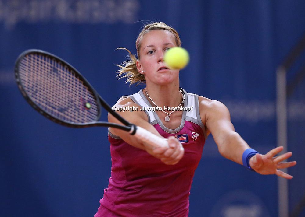 ITF Bueschl  Open 2012, ITF Women's Circuit Damen Hallen Tennis Turnier in Ismaning,.Dinah Pfizenmaier (GER) spielt einen hohen Volley,Aktion,Einzelbild,.Halbkoerper,Querformat,