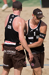 04.07.2013, Lake Szelag, Stare Jablonki, POL, FIVB Beach Volleyball Weltmeisterschaft, im Bild Markus Boeckermann (#2 GER), Mischa Urbatzka (#1 GER), // during the FIVB Beach Volleyball World Championships at the Lake Szelag, Stare Jablonki, Poland on 2013/07/04. EXPA Pictures © 2013, PhotoCredit: EXPA/ Eibner/ Kurth ***** ATTENTION - OUT OF GER *****