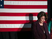 05 DECEMBER 2019 - DES MOINES, IOWA: US Senator AMY KLOBUCHAR (D-MN) on stage during a campaign event in Des Moines. Sen. Klobuchar is campaigning to be the Democratic nominee for the US Presidency. Iowa holds the first selection event of the Presidential election cycle. The Iowa caucuses are Feb. 3, 2020.                   PHOTO BY JACK KURTZ