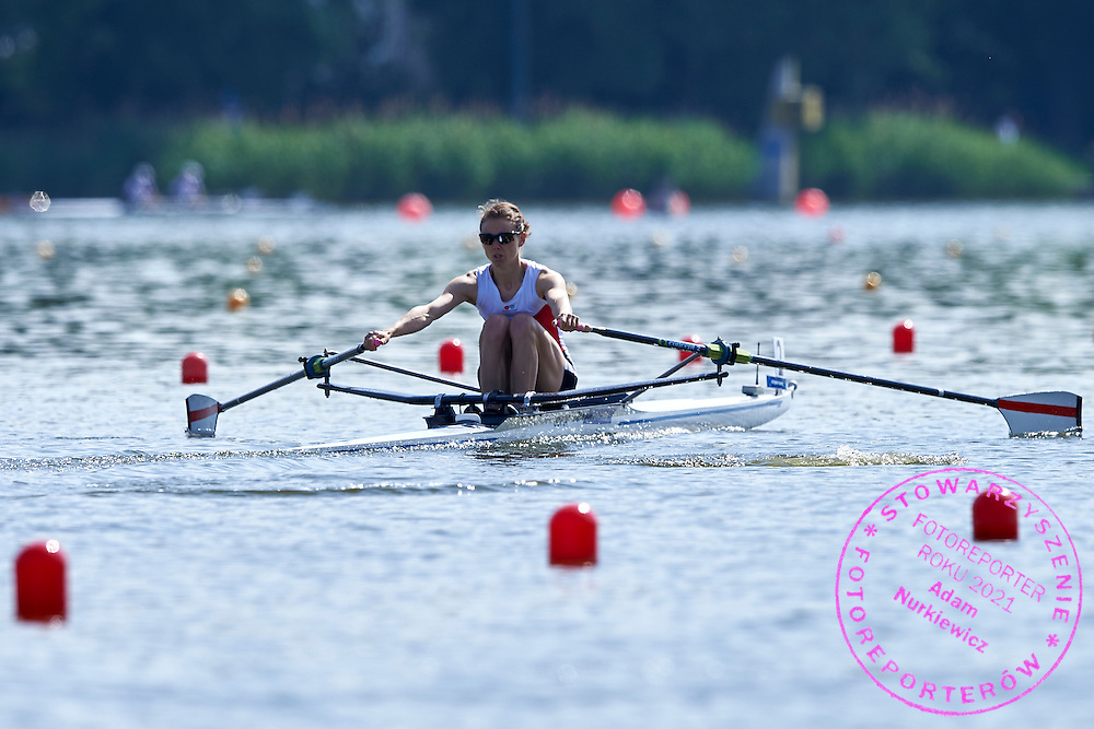 Runde Holmegaard of Denmark competes at Lightweight Women&rsquo;s Single Sculls (LW1x) during first day the 2015 European Rowing Championships on Malta Lake on May 29, 2015 in Poznan, Poland<br /> Poland, Poznan, May 29, 2015<br /> <br /> Picture also available in RAW (NEF) or TIFF format on special request.<br /> <br /> For editorial use only. Any commercial or promotional use requires permission.<br /> <br /> Mandatory credit:<br /> Photo by &copy; Adam Nurkiewicz / Mediasport