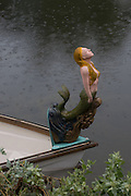 Photo Venice Canal Mermaid figurehead wall art. Mermaid in the rain. Los Angeles, Westside, Southern California lifestyle photography. Matted print, limited edition. Fine art photography print.
