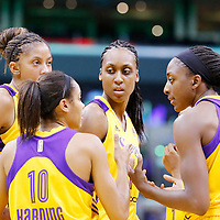 17 June 2014: Los Angeles Sparks forward/center Sandrine Gruda (7) is seen with Los Angeles Sparks forward/center Candace Parker (3), Los Angeles Sparks guard Lindsey Harding (10) and Los Angeles Sparks forward Nneka Ogwumike (30) during the Minnesota Lynx  94-77 victory over the Los Angeles Sparks, at the Staples Center, Los Angeles, California, USA.