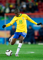 Ramires of Brazil during the 2010 FIFA World Cup South Africa Group G match between Brazil and North Korea at Ellis Park Stadium on June 15, 2010 in Johannesburg, South Africa. Brazil defeated Korea 2-1. (Photo by Vid Ponikvar / Sportida)