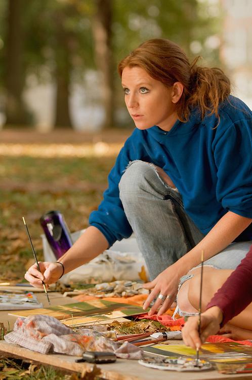 Sandy Larsen(blue) and Nina Pilacoutas(maroon)..Basic painting class