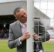 Robert Douglas kisses the goalpost as he says goodbye to Dundee after a fine career for the Dark Blues - Dundee v Kilmarnock -  Clydesdale Bank Scottish Premier League <br />  <br /> &copy; David Young - www.davidyoungphoto.co.uk - email: davidyoungphoto@gmail.com
