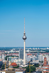 Skyline of Berlin looking towards the TV Tower of Fernsehturm, Mitte, Berlin, Germany