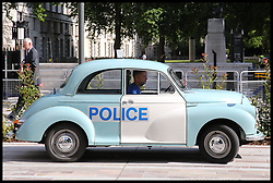 July 13, 2017 - London, London, United Kingdom - Image ©Licensed to i-Images Picture Agency. 13/07/2017. London, United Kingdom. Queen Elizabeth II opens New Scotland Yard. .Metropolitan Police Police cars outside the New Scotland Yard, the new headquarters of the Metropolitan Police at Victoria Embankment..Picture by Dinendra Haria / i-Images (Credit Image: © Dinendra Haria/i-Images via ZUMA Press)