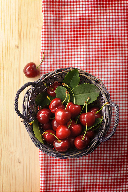 red cherries basket on a table