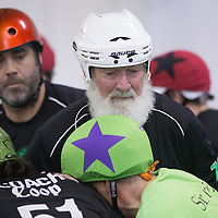 "Dick ""Merby Dick"" Roche takes part in a scrimmage against the Salem Mens Roller Derby at the Mad House, on Sunday, October 26, 2014. Roche is a member of the Lane County Concussions, and at 74, could be the oldest man competing in derby."