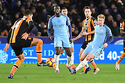 Kevin De Bruyne (17) Manchester City midfielder kicks forward blocked by Hull City midfielder Jake Livermore (14)  during the Premier League match between Hull City and Manchester City at the KCOM Stadium, Kingston upon Hull, England on 26 December 2016. Photo by Ian Lyall.