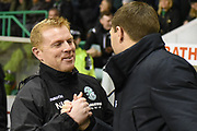 Neil Lennon greets Steven Gerrard ahead of the Ladbrokes Scottish Premiership match between Hibernian and Rangers at Easter Road, Edinburgh, Scotland on 19 December 2018.