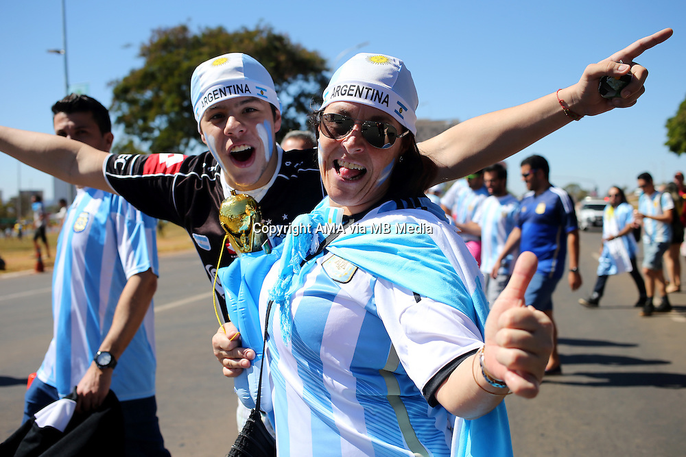 Fans of Argentina with a replica world cup trophy