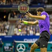 2019 US Open Tennis Tournament- Day Nine.  Grigor Dimitrov of Bulgaria in action against Roger Federer of Switzerland in the Men's Singles Quarter-Finals match on Arthur Ashe Stadium during the 2019 US Open Tennis Tournament at the USTA Billie Jean King National Tennis Center on September 3rd, 2019 in Flushing, Queens, New York City.  (Photo by Tim Clayton/Corbis via Getty Images)