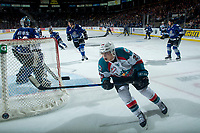 KELOWNA, CANADA - FEBRUARY 12: Leif Mattson #28 of the Kelowna Rockets skates behind the net against the Victoria Royals  on February 12, 2018 at Prospera Place in Kelowna, British Columbia, Canada.  (Photo by Marissa Baecker/Shoot the Breeze)  *** Local Caption ***