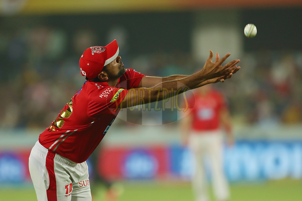 Ravichandran Ashwin of the Kings XI Punjab can't quite make the catch during match twenty five of the Vivo Indian Premier League 2018 (IPL 2018) between the Sunrisers Hyderabad and the Kings XI Punjab  held at the Rajiv Gandhi International Cricket Stadium in Hyderabad on the 26th April 2018.<br /> <br /> Photo by: Ron Gaunt /SPORTZPICS for BCCI