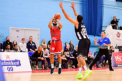 Lewis Champion of Bristol Flyers is marked by Kai Williams of Newcastle Eagles - Photo mandatory by-line: Ryan Hiscott/JMP - 03/11/2018 - BASKETBALL - SGS Wise Arena - Bristol, England - Bristol Flyers v Newcastle Eagles - British Basketball League Championship