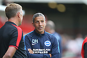Chris Hughton, Brighton Manager during the Pre-Season Friendly match between Crawley Town and Brighton and Hove Albion at the Checkatrade.com Stadium, Crawley, England on 22 July 2015.