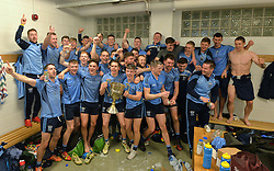 Boys in Blue Westport celebrate their Mayo County final win over Kiltimagh.<br />