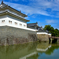 History of Sunpu Castle in Shizuoka, Japan<br /> During the 14th century, while Imagawa Norikuni was shogun of Suruga Province (present day Shizuoka Prefecture), he built a fortification here. Starting in 1585, Tokugawa Ieyasu (who founded the 300 year Edo Period of Japanese rulers) began transforming it into Sunpu Castle. By the early 17th century, Sunpu-jō had a system of moats and a keep to protect his palace. It soon burned down and was elaborately rebuilt. At the start of the Meiji Restoration (1868), when the Tokugawa shogunate ended, Sunpu Castle ceased to be their residence. In 1889, the property was donated to Shizuoka City. From 1896 until 1949, it served the Imperial Japanese Army. Then the ruins of Sunpu Castle became a free park. A few structures were historically recreated in 1990s. On the left is Tatsumi Yagura. The tower's name means armory (arrow storage) in southeast corner. On the right is the East Gate.