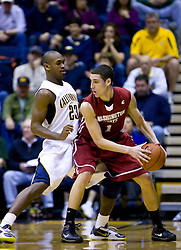 February 13, 2010; Berkeley, CA, USA;  Washington State Cougars guard Klay Thompson (1) is defended by California Golden Bears guard Patrick Christopher (23) during the first half at the Haas Pavilion.  California defeated Washington State 86-70.