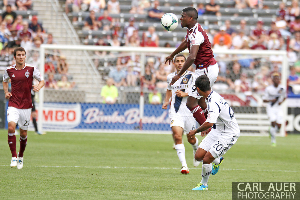 July 27th, 2013 - Colorado Rapids forward Edson Buddle (9) rises above LA Galaxy defender A.J. DeLaGarza (20) to collect the ball in first half action in the Major League Soccer match between the LA Galaxy and the Colorado Rapids at Dick's Sporting Goods Park in Commerce City, CO
