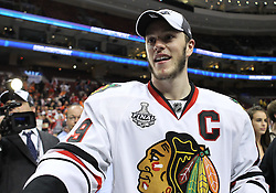 June 9, 2010; Philiadelphia, PA; USA;  Chicago Blackhawks center Jonathan Toews (19) celebrates after the Blackhawks defeated the Flyers 4-3 in Game 6 of the Stanley Cup Finals at the Wachovia Center.