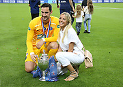 Goalkeeper of PSG Sergio Rico and his wife Alba Silva celebrate the victory following the French Cup final football match between Paris Saint-Germain (PSG) and Saint-Etienne (ASSE) on Friday 24, 2020 at the Stade de France in Saint-Denis, near Paris, France - Photo Juan Soliz / ProSportsImages / DPPI