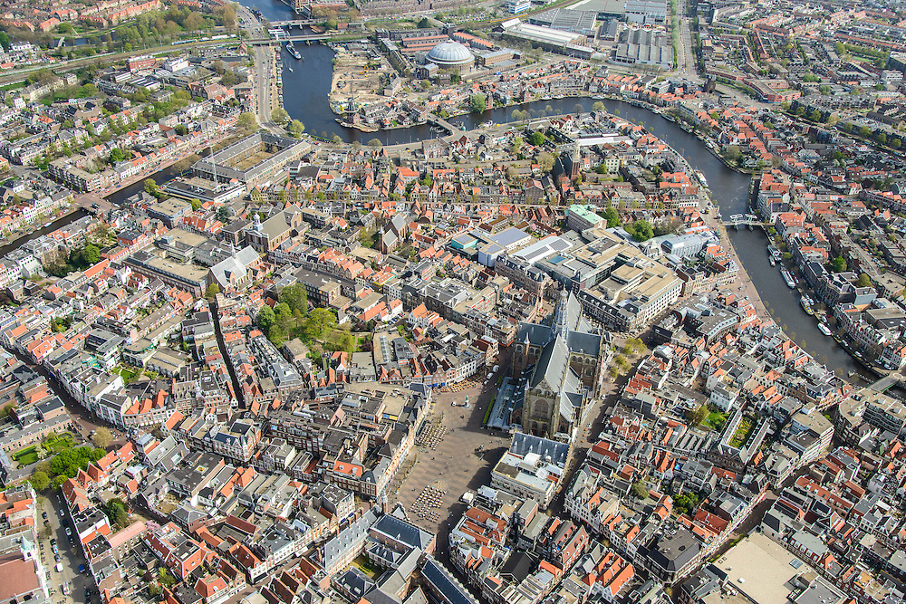 Nederland, Noord-Holland, Haarlem, 09-04-2014; overzicht met Spaarne en Grote of Sint Bavokerk.<br /> Overview Haarlem.<br /> luchtfoto (toeslag op standard tarieven);<br /> aerial photo (additional fee required);<br /> copyright foto/photo Siebe Swart
