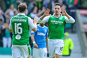 16 Lewis Stevenson congratulates 19 Jamie MacLaren after scoring goal during the Ladbrokes Scottish Premiership match between Hibernian and Rangers at Easter Road, Edinburgh, Scotland on 13 May 2018. Picture by Kevin Murray.
