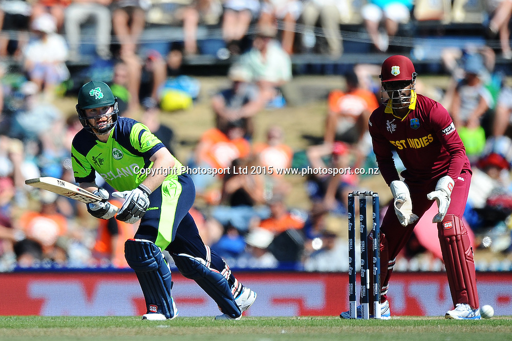 Paul Stirling from Ireland during the 2015 ICC Cricket World Cup match between West Indies and Ireland. Saxton Oval, Nelson, New Zealand. Monday 16 February 2015. Copyright Photo: Chris Symes / www.photosport.co.nz
