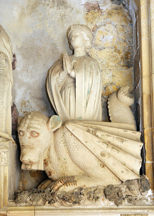 Cathedral of the Holy Saviour, Aix en Provence, France. Detail of Aygosi family stone altar. Dragon with St. Margaret of Antioch