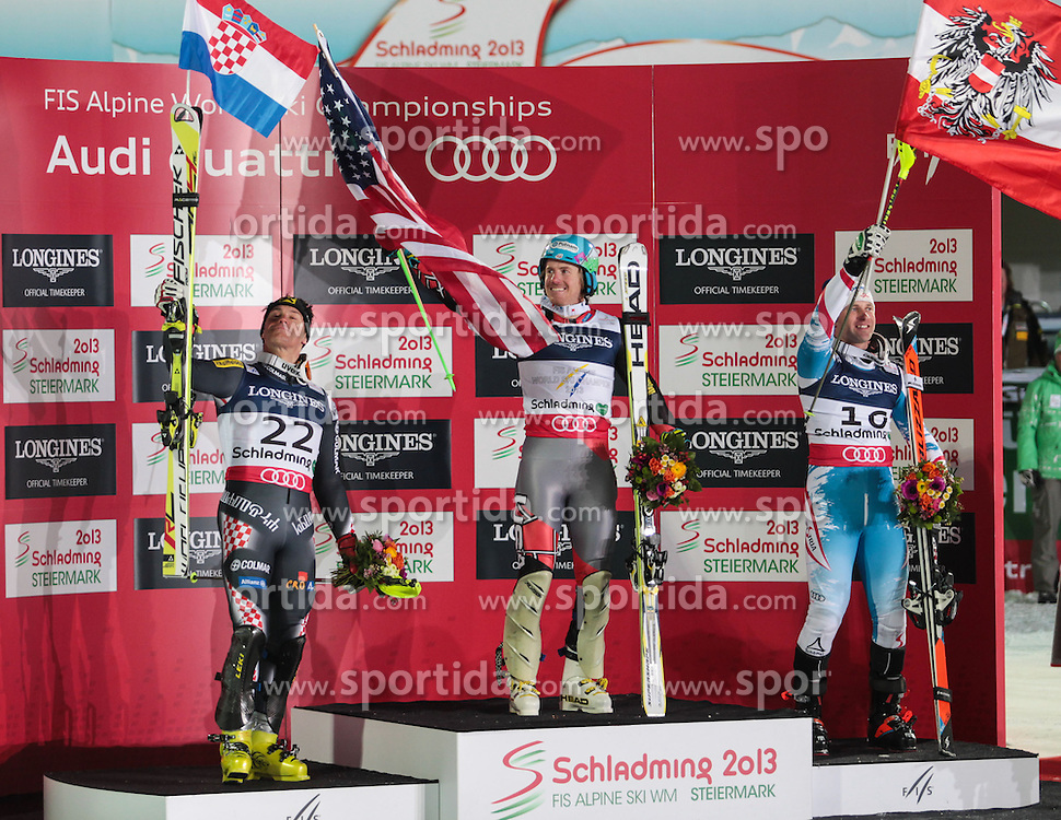 11.02.2013, Planai, Schladming, AUT, FIS Weltmeisterschaften Ski Alpin, Super Kombination, Slalom, Herren, Siegerpraesentation, im Bild Ivica Kostelic (CRO, 2. Platz), Ted Ligety (USA, 1. Platz), Romed Baumann (AUT, 3. Platz) // Ivica Kostelic of Croatia, 2nd place, Ted Ligety of United States of America, 1st place, Romed Baumann of Austria, 3rd place, Winners Presentation, after teir runs at Mens Super Combined Slalom at the FIS Ski World Championships 2013 at the Planai Course, Schladming, Austria on 2013/02/11. EXPA Pictures © 2013, PhotoCredit: EXPA/ Sammy Minkoff