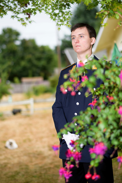 Mountlake Terrace, Washington - July 13, 2015: <br /> <br /> The Kingdom of &Uuml;berstadt is led by nineteen-year-old King Adam I, (Adam Oberstadt). The Barony of Rosewood -- the micronation's capitol and the Oberstadt family home -- is nestled in the Seattle suburb of Mountlake Terrace, Wash. <br /> &Uuml;berstadt also claims territory of nearby Edmount Island on Lake Ballinger -- called The Barony of Ballinger and &quot;considered the spiritual homeland of the nation.&quot; Both baronies reside within the Duchy of Edmount which &quot;is situated entirely within the boundaries of the city of Mountlake Terrace, Washington,&quot; according to the &Uuml;berstadt website.<br /> &Uuml;berstadt  was founded by King Adam I and his high school friends March 6, 2010, and was governed by judges as a kritarchy. Before taking the crown, Adam was &Uuml;berstadt's chief judge. After graduation, many of the &Uuml;berstadti moved away to college and &Uuml;berstadt's populace shrank. Activities would shift from the high school to Rosewood, and the governing style morphed to a unitary constitutional monarchy. According to the micronation's website &Uuml;berstadt is a sovereign state &quot;guided by the principles of direct democracy, socialist economics, and environmentalism.&quot; <br /> <br /> CREDIT: Matt Roth