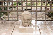 Colossal Olmec stone head on display at the Museum of Anthropology in the historic center of Xalapa, Veracruz, Mexico. The Olmec civilization was the earliest known major Mesoamerican civilizations dating roughly from 1500 BCE to about 400 BCE.