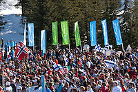 A crowd of spectators cheer during the ski jump medal round at the Whistler Olympic Park during the 2010 Olympic Winter Games in Whistler, BC Canada.