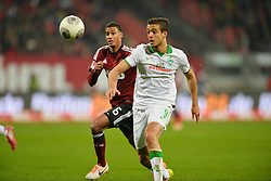 08.03.2014, easyCredit Stadion, Nuernberg, GER, 1. FBL, 1. FC Nuernberg vs SV Werder Bremen, 24. Runde, im Bild Franco Di Santo (Werder Bremen / rechts) im Laufduell mit Martin Angha (1 FC Nuernberg / links) Duell, Zweikampf, Action / Aktion // during the German Bundesliga 24th round match between 1. FC Nuernberg and SV Werder Bremen at the easyCredit Stadion in Nuernberg, Germany on 2014/03/08. EXPA Pictures © 2014, PhotoCredit: EXPA/ Eibner-Pressefoto/ Merz<br /> <br /> *****ATTENTION - OUT of GER*****