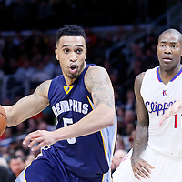 23 February 2015: Memphis Grizzlies guard Courtney Lee (5) drives past Los Angeles Clippers guard Jamal Crawford (11) during the Memphis Grizzlies 90-87 victory over the Los Angeles Clippers, at the Staples Center, Los Angeles, California, USA.