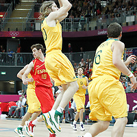 31 July 2012: Australia David Barlow takes a jumpshot during the 82-70 Spain victory over Australia, during the men's basketball preliminary, at the Basketball Arena, in London, Great Britain.