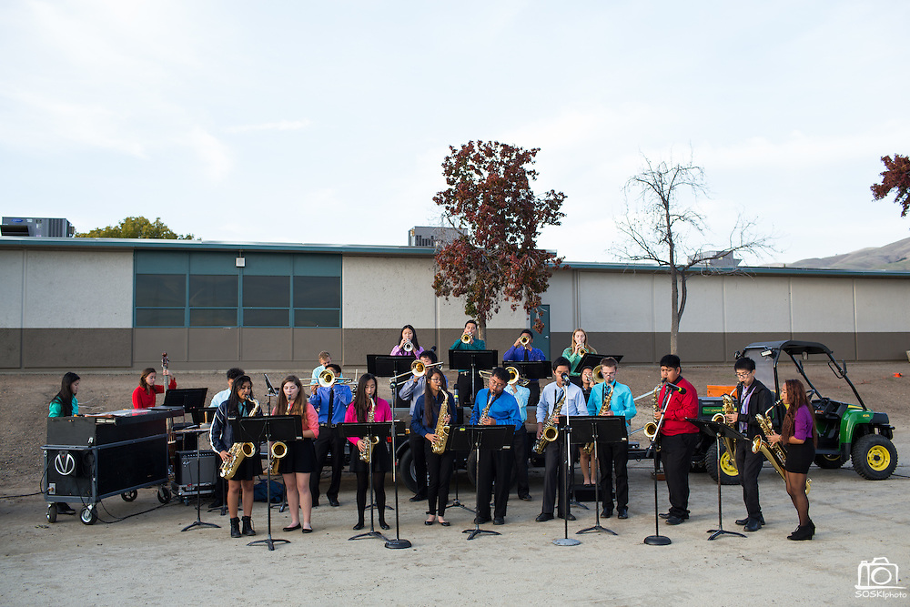 The Milpitas High School Band performs during the Milpitas Unified School District and San Jose Evergreen Community College District Community College Extension Ground Breaking Ceremony near Russell Middle School in Milpitas, California, on November 17, 2015. (Stan Olszewski/SOSKIphoto)