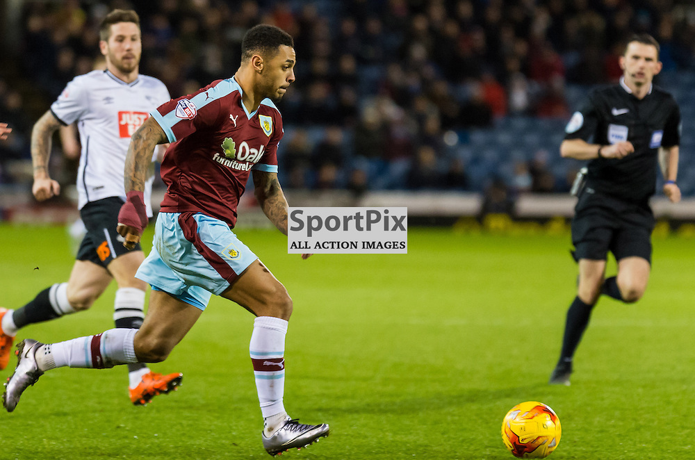 (Burnley forward Andre Gray (7) speeds towards goalin the Championship match between Burnley and Derby County<br /> c) John Baguley | SportPix.org.uk