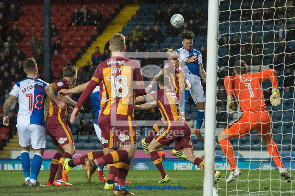 Derrick Williams of Blackburn Rovers climbs to head goalwards during the Sky Bet League 1 match at Ewood Park, Blackburn<br /> Picture by Matt Wilkinson/Focus Images Ltd 07814 960751<br /> 29/03/2018