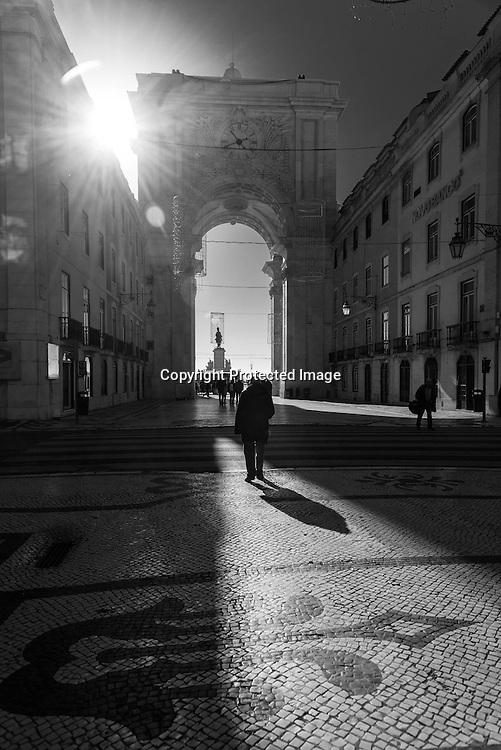 Portugal. Lisbon. Baixa district.pedestrians in Rua Augusta