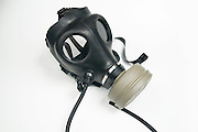 Cutout of a Gas Mask with drinking tube attached on white background