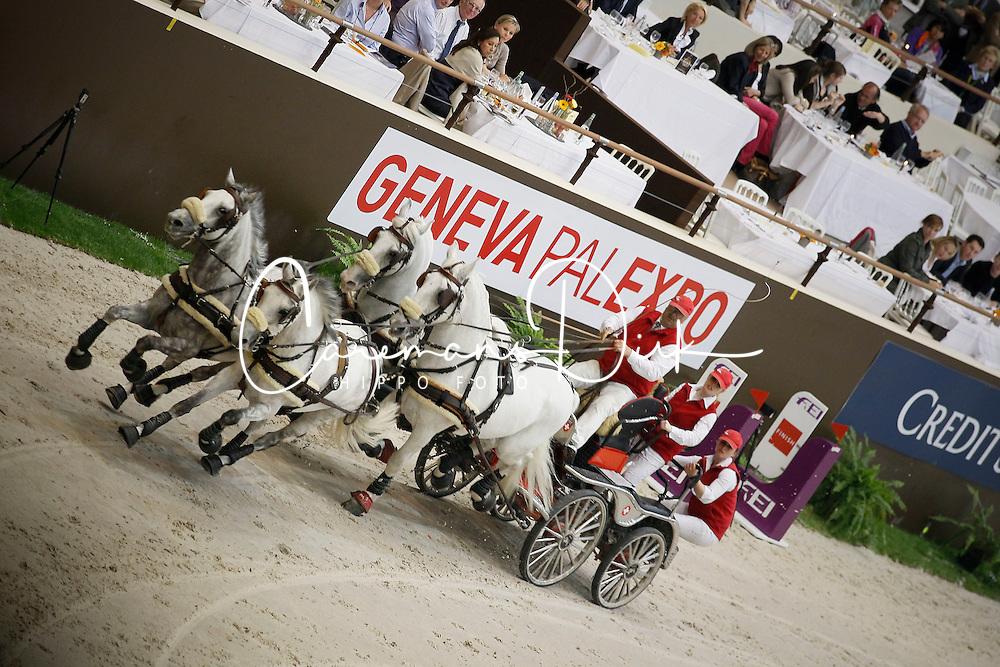 Wurgler Daniel, (SUI), Eclair DW, Favory Pastora, Generale Erga, Suleika<br /> FEI World Cup Driving Final Geneve 2010<br /> &copy; Hippo Foto - Dirk Caremans